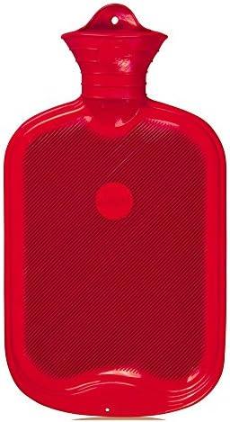 2 Liter Gummi-Wärmflasche, Wärmeflasche, Wärmetherapie, einseitig Lamellen, rot
