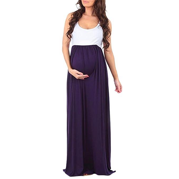 Cinnamou Vestido Premamá,Vestido maxi falda empalmado sin mangas embarazada, de maternidad Apoyos de