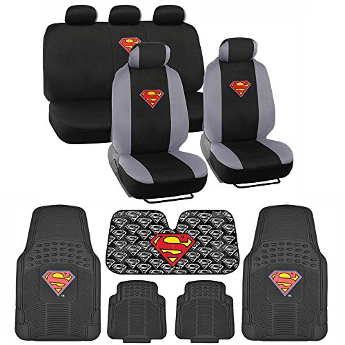 Superman Car - BDK C1604 Superman Seat Cover & Carpet Floor Mats & Sun Shade for Car SUV Van Truck-16 Piece Full Interior Protection Auto Accessory Gift Set