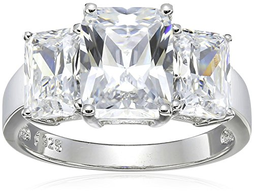 Platinum Plated Sterling Silver Emerald Cut Cubic Zirconia Three Stone Ring, Size 6