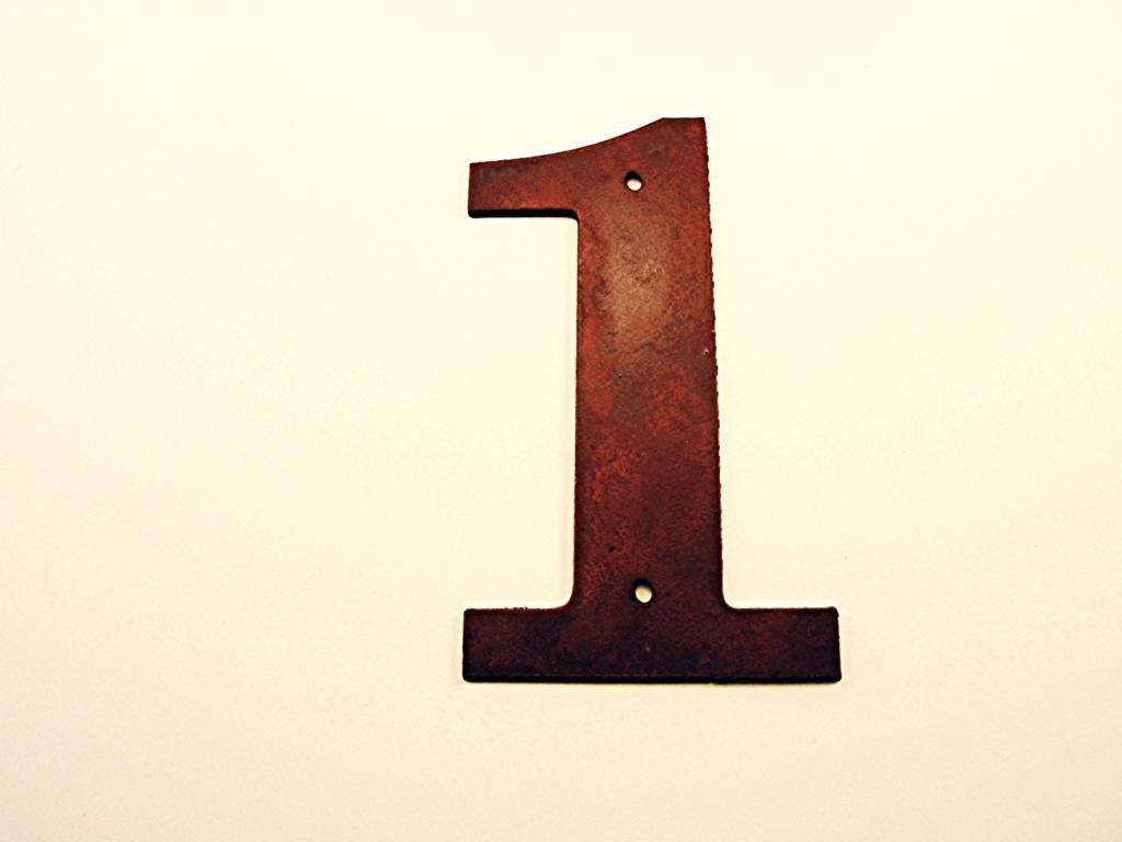 Old School Book House Number 1 Metal Rustic Rusted 6''h
