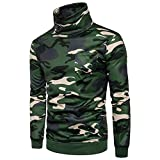 Fanteecy Men's Camouflage Printed High Neck Long Sleeve Pullover Sweatshirt Top Outwear Sweater Blouse (M, Green)
