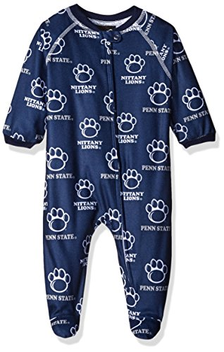 NCAA Penn State Nittany Lions Newborn Boys Sleepwear All Over Print Zip Up Coveralls, 6-9 Months, Dark Navy