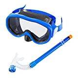 Kids / Children Snorkel Set, Swimming Goggles Semi-dry Snorkel Equipment for Boys and Girls Junior Snorkeling Gear Age 5 Plus (Blue)