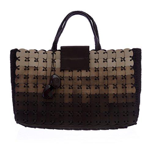 Giorgio Armani Women's Crocheted Tote Bag Brown - Brown Armani Bag