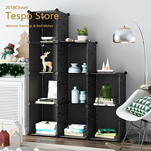 Tespo 9-Cube Modular DIY Storage Cube Organizer by 4 tier Shelving Bookcase Cabinet Closet Black (9-Cube (Height Modular Storage Drawer Cabinet)