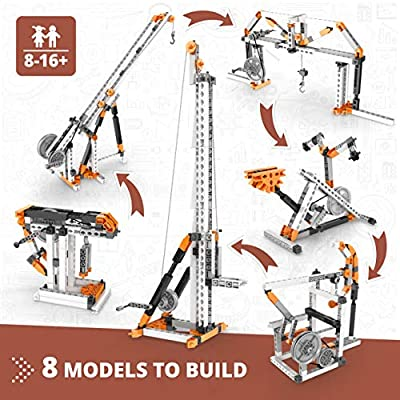 Engino Discovering STEM Mechanics Pulley Drives | 8 Working Models | Illustrated Instruction Manual | Theory & Facts | Experimental Activities | STEM Construction Kit: Toys & Games