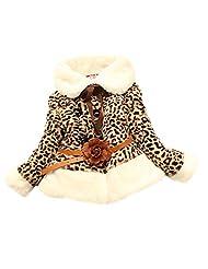 Girl Baby Toddlers Kids Flower Leopard Faux Fur Fleece Coat Kids Flower Winter Warm Jacket Outwear - 12