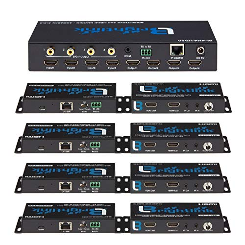 - Brightlink 4X4 4k@60hz HDMI 2.0 Matrix Switcher Set with 4 HDMI 2.0/HDBaseT Extenders Over Cat6 - 228ft - HDR10 4:4:4-4 Sources to 4 Displays - POE/POC - RS232 PC and IR Control