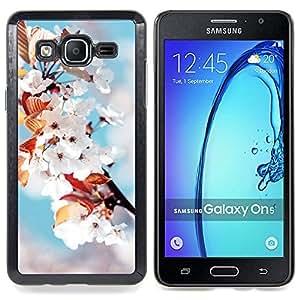 """Qstar Arte & diseño plástico duro Fundas Cover Cubre Hard Case Cover para Samsung Galaxy On5 O5 (Flores blancas"""")"""