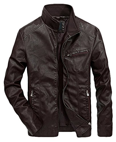 Youhan Men's Casual Full-Zip Retro Fitted PU Faux Leather Jacket (Medium, -