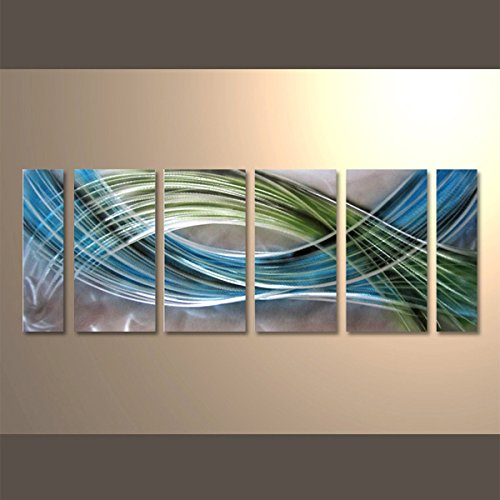 Yihui Arts Abstract Color Warp Metal Wall Art, Large Scale Decor Abstract Blue-Green Swirls, 3D Wall Art for Modern and Contemporary Decor, 6-Panels Measure 24''x 65'', Great for Indoors and Outdoors by Yihui Arts