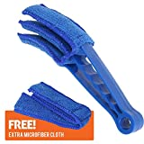 Microfiber Window Blind Cleaner Shutters Duster Brush for Window Air Conditioner with Anti Scratch Sleeves 3 Prongs Finger Design and Extra Microfiber Cloth Machine Washable, Blue