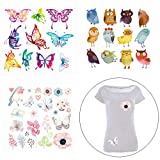 FineInno Iron-on Transfers Patches Appliques Vinyl Washable Sticker Decals Heat Thermal Transfers Printed Decor Accessories Kit for DIY,T-Shirt, Jeans, Clothing, bags, Hats (flower+owl+butterfly)
