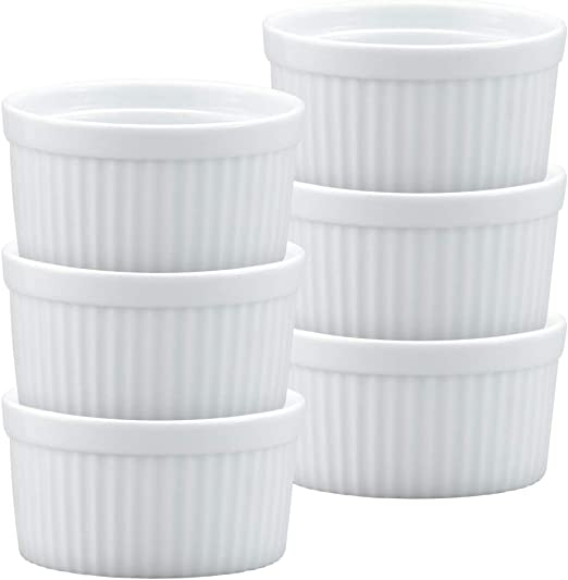 3.5-Inch Set of 6 6-Ounce Capacity HIC Ramekins Fine White Porcelain Souffle