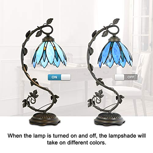 Cloud Mountain Tiffany Style Table Lamp Light Blue Floral Leaf Lotus Shape Arched Stained Glass Desk Lamp Home Decor Lighting with 7 Inch Lampshade by Cloud Mountain (Image #1)