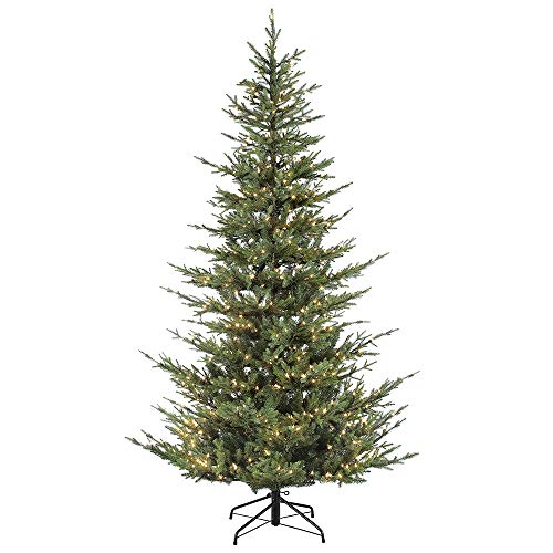 Puleo International 7.5 Foot Pre-Lit Natural Fir Artificial Christmas Tree with 700 Clear Lights, Green