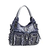 Donalworld Ladies Vintage Crystal Denim Tote Shoulder Handbag Blue