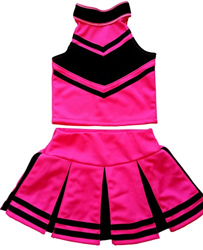 Little Girls' Cheerleader Cheerleading Outfit Uniform Costume Cosplay Halloween Pink/Black (XL / 10-12) (Cheerleader Costume Halloween)