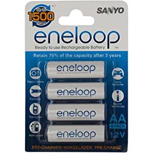 Sanyo Eneloop AA Battery 4 pack Precharged Use Up to 1500 Times