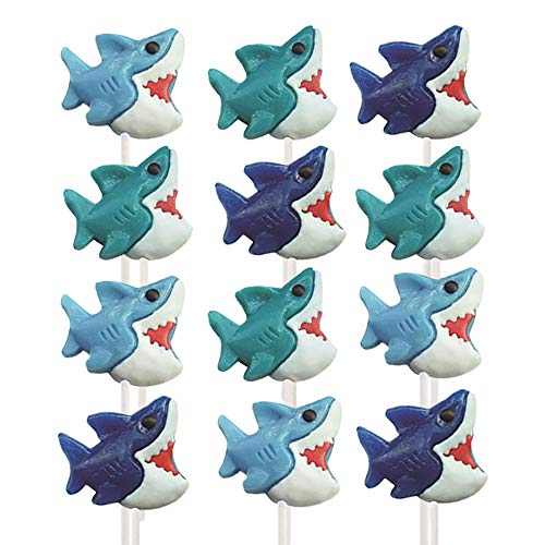 Kicko Shark Lollipops - Pack of 12 2 Inch Assorted Flavored Animal Lollipops for Party Favors, Cake Decorations, Novelty Supplies or Treats for Easter Sunday, Halloween, Christmas, Baby Showers