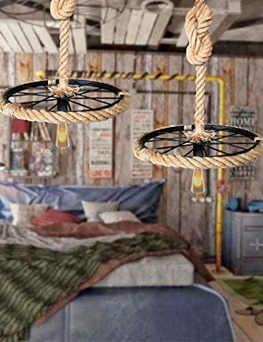 Retro Hanf Seil Hängelampe Metallring Decke Hängelampe E27 Schlafzimmer Korridor Wohnzimmer Küche Schwarz