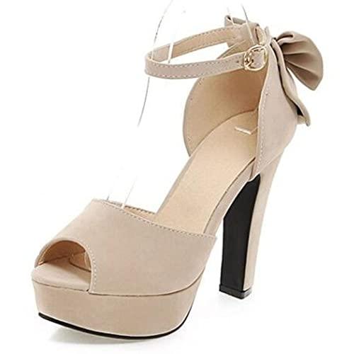 ad98c5ec36a3 Summerwhisper Women s Elegant Bowknot Peep Toe Ankle Strap Party Shoes  Chunky High Heel Platform Sandals Beige