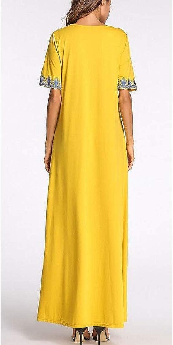 Pcutrone Women Half Sleeve Embroidery Classical Printed Muslim Thobe Dresses