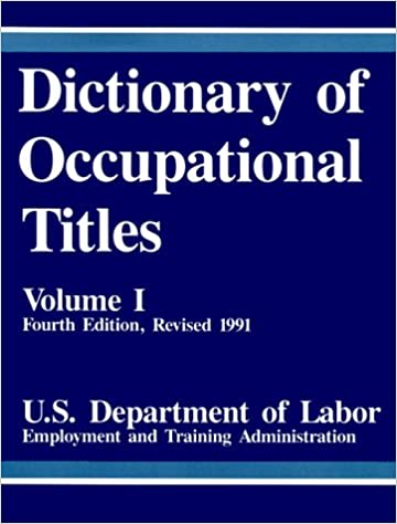?TXT? Dictionary Of Occupational Titles, Vol. 1. Latest Double TANJUN facts sonido