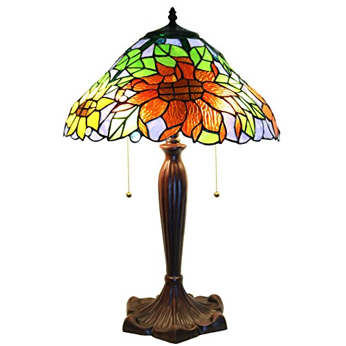Warehouse of Tiffany Zellda Stained-Glass 2-Light Sunflower Table Lamp, Multi, 16