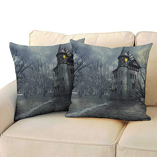 RenteriaDecor Halloween,Personalized Pillow Cases Halloween Design with Gothic Haunted House Dark Sky and Leafless Trees Spooky Theme 14