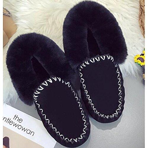 ZHZNVX HSXZ Zapatos de Mujer PU Primavera Otoño Comodidad Nieve Botas Botas Planas Botas de Tacón Botines/Tobillo for Casual Gris Negro,Negro,US8/UE39/UK6/CN39