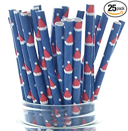 party Red elf curly straws pack of 3 straws Christmas re-usable straws