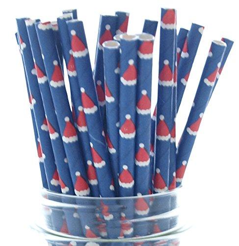 Santa Hat Straws, Christmas Santa Claus Straws (25 Pack) - Christmas Party Supplies, Kris Kringle Hats, Jolly Old Saint Nick Holiday Party Decorations (Kringle Santa)