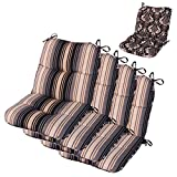 Cheap Comfort Classics Inc. Set of 4 Mid Back Outdoor Reversible Dining Chair Cushion 20″ x 36″ x 3″ H-19 in Polyester Fabric Mainstreet Stone