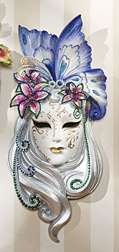 Topland Art Deco Style Lady Butterfly Venetian Style Mask Wall Decor (Art Deco Wall Masks)