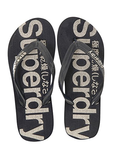 5f5929e47c50 Superdry Women s Mainline Navy and Silver Film Print Rubber Flip-Flops and  House Slippers - 7 UK  Buy Online at Low Prices in India - Amazon.in
