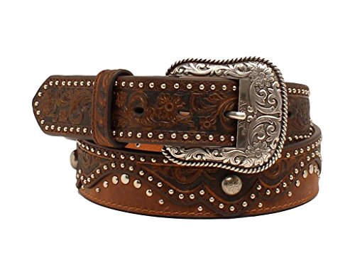 Ariat Women's 1 1/2'' Embossed Pattern Nailhead Belt, Brown, L (Ariat Embossed Belt)
