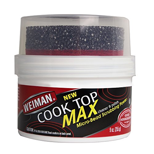 Weiman Cooktop Cleaner Max - 9 Ounce - Easily Remove Burned-On Food, Grease and Watermarks, Leaving Your Glass Cook Top Sparkling (Clean Natural Sparkling)