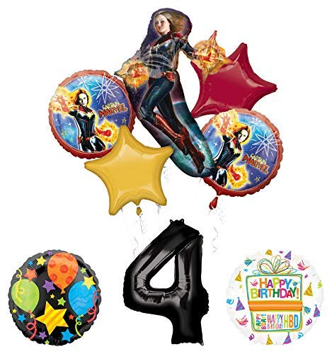 Mayflower Products Captain Marvel 4th Birthday Party Supplies Jubilee Balloon Bouquet Decorations