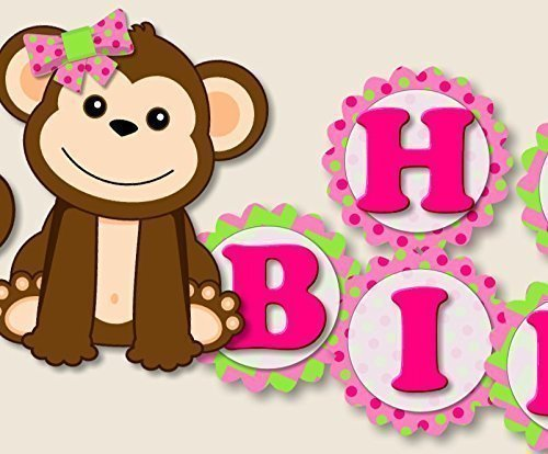 1st Monkey - Monkey Birthday Banner Party Decoration Supplies for Girl -