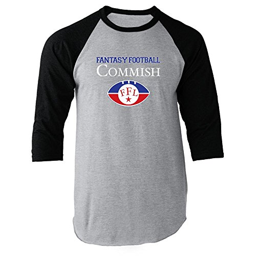 Fantasy Football Commish Black M Raglan Jersey T-Shirt by Pop Threads