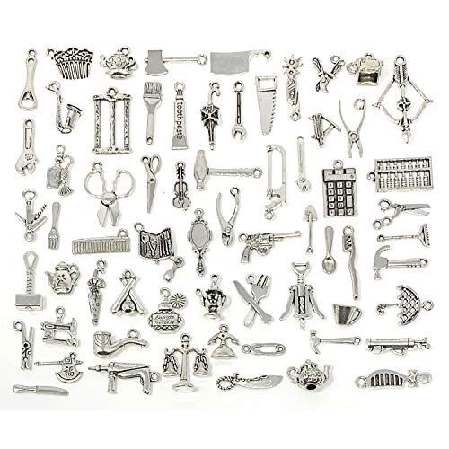 ms Collection, JIALEEY Wholesale Bulk Lots Antique Silver Tibetan Alloy Worker 3D Tools Charms Pendants DIY for Jewelry Making and Crafting ()