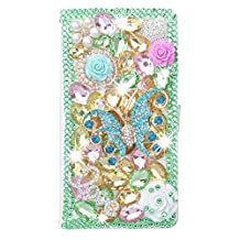 KAKA(TM) Motorola Case,Moto G Creative Design Clear Case Bling Glitter with Butterfly Crystal Flowers Rhinestone