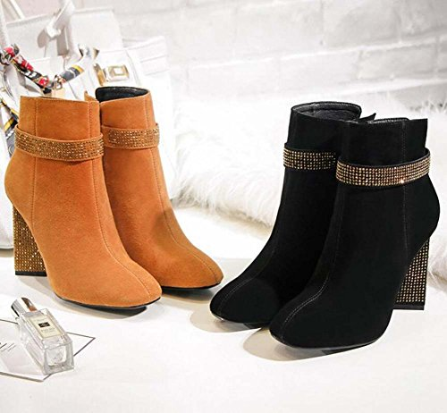 Winter Flash Court Size Chocolate Martin Boots 5cm Eu 8 Heel Women Chunkly Autumn 2017 Square Shoes Zipper Shoes Drill cashmere Ankle Dress New Seude 43 Heel Casual Toe 33 Shoes Boots FHqxHg
