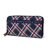 Nautica Nylon Zip Around Womens Clutch Wallet With Removable Wristlet Strap (Block Plaid)