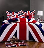 Newrara Union Jack Duvet Cover Set Queen Size 4 Pieces 100% Cotton