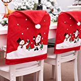 Martine Mall Xmas Chair Cap Sets, Santa Claus Clause Hat Chair Covers, Red Hat Dinner Chair Slipcovers Protector Sets for Christmas Banquet Holiday Festival Decor, Set of 4 (4, Red)