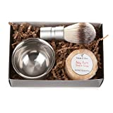 Men's Shaving Kit: 3-Piece Shaving Soap Gift Set with Ultra Rich Soap, Stainless Steel Shave Bowl & Easy-Grip Brush, Light Bay Rum Scent, Handsomely Gift Boxed by Tatum & Shea (Bay Rum)
