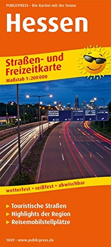 Hessen: Straßen- und Freizeitkarte mit Touristischen Straßen, Highlights der Region und Reisemobilstellplätzen. 1:200000 (Straßen- und Freizeitkarte / StuF)